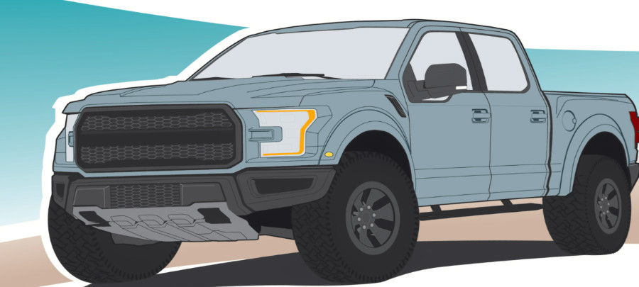 Sketch of a pickup truck
